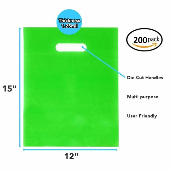 200 Pack 12quot; x 15quot; x 1.25mil Thick Green Merchandise Plastic Glossy Retail Bags