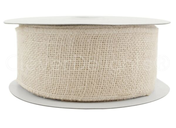 2.5quot; White Burlap Ribbon 25 Yards Wired Finished Edges Super Fine Weave