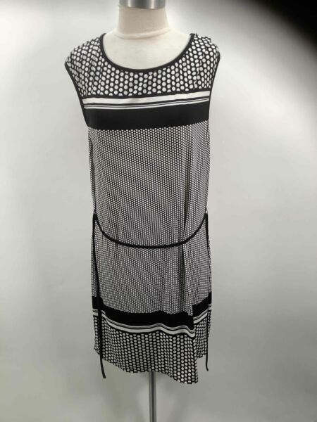 Max Studio Black White Waist Tasseled Sleeveless Midi Dress Size L