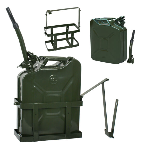 5 Gallon 20L Jerry Can Fuel Steel Tank Military Green w Holder Backup New $35.99