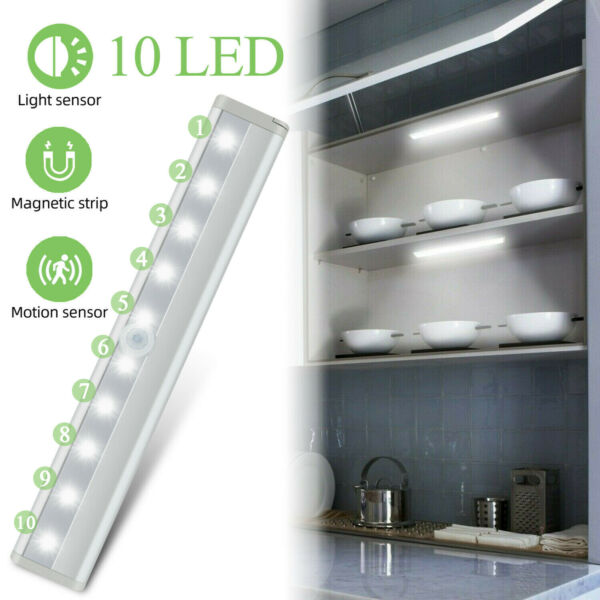 10 LED Motion Sensor Closet Light Wireless Night Light Cabinet Wardrobe Kitchen