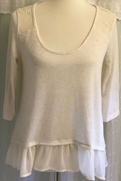 Living Doll L. A. Boho Top Knit Ruffled Lace Netting Cream Beige Size M