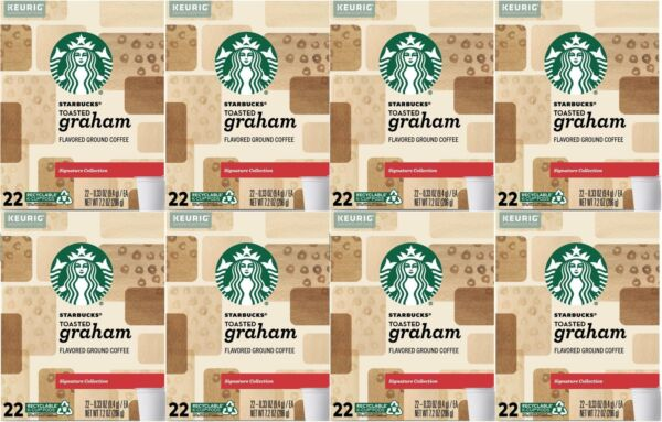 176 Starbucks K Cups Toasted Graham 8 boxes x 22 Count Best By 6 2020