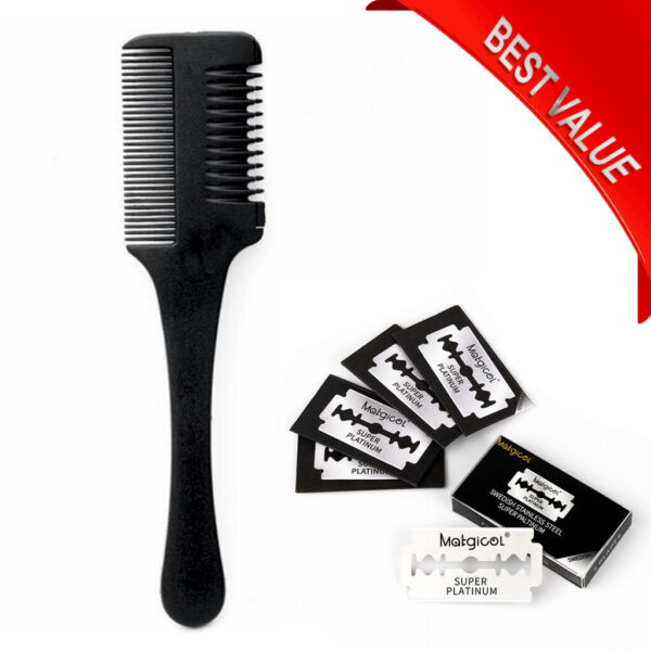 Double Side Hair Razor Comb Cutting Thinning Comb with Blade US Shipping