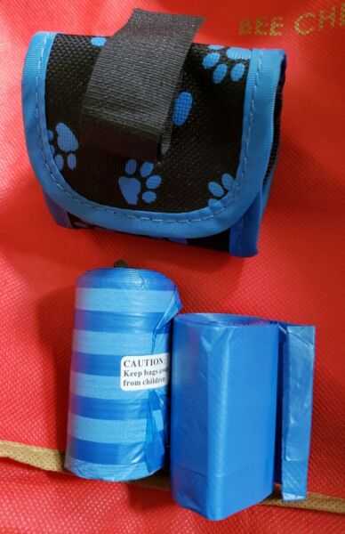 Five Star Pet Paw Print Dispenser and Pet Clean Up Bags Black with Blue Paws $5.99