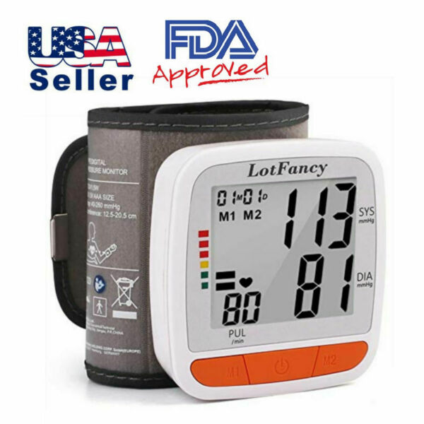 Automatic Wrist Blood Pressure Monitor Heart Rate BP Meter Tester Large LCD US $15.99