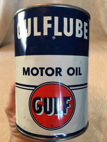 ORIG GULF GULFLUBE MOTOR OIL QUART METAL CAN NO RES