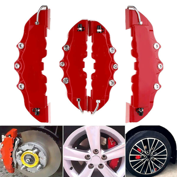 4x Red 3D Auto Car Disc Brake Caliper Covers Front & Rear Wheels Accessories Kit