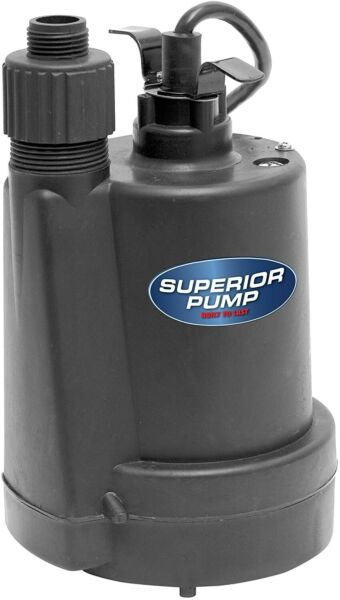 Superior Pump 91250 14 HP Thermoplastic Submersible Utility Pump with 10-Foot C