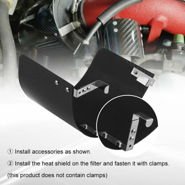 2.5quot; 3.5quot; Air Intake Filter Heat Shield Cover Carbon Fiber Pattern Steel $18.39