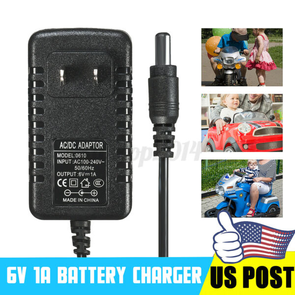 6V 500mA 1A Battery Charger Adapter For Kids Ride On Car ATV Quad $7.21