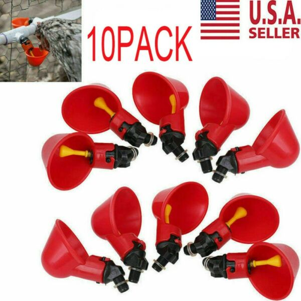 10 Pack Poultry Water Drinking Cups- Chicken Hen Plastic Automatic Drinker USA $13.20