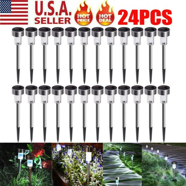 24 PCS Garden Outdoor Stainless Steel LED Solar Landscape Path Lights Lamp USA $26.99
