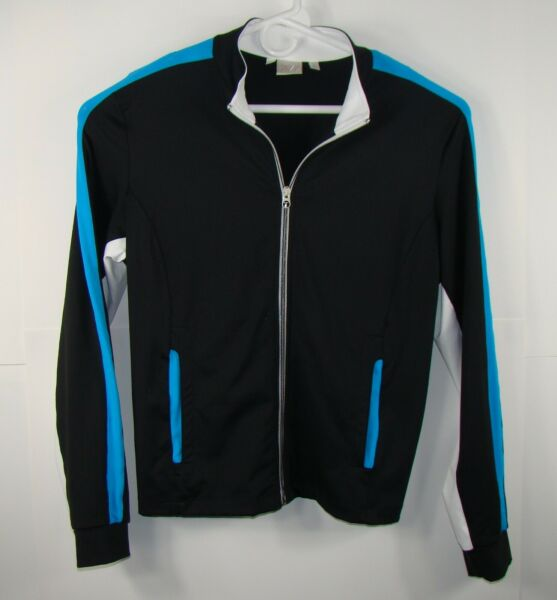 Womens Large Tail Activewear Full Zip Two Front Zip Pockets Black Blue White $20.00