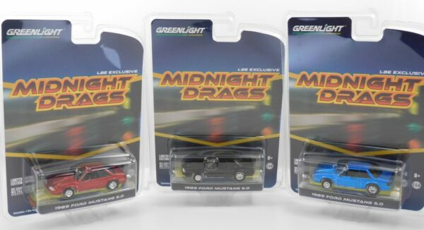 2019 Greenlight 1989 FORD MUSTANG LX 5.0 LBE Exclusive Midnight Drags 3 Car Set $59.95