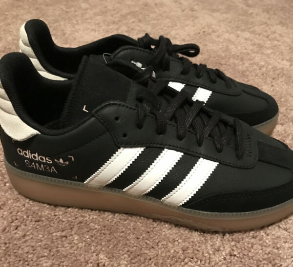 New Mens ADIDAS BLACK SAMBA RM LEATHER Sneakers Retro Shoes Size 7 BD7539