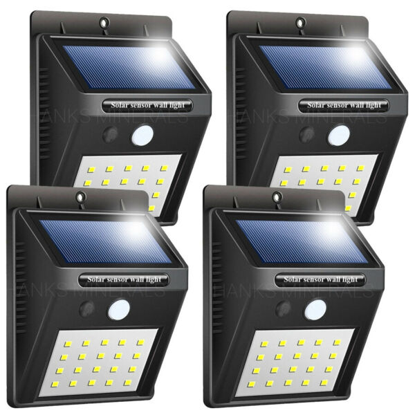 4x 20 LED Solar Power Wall Light Waterproof Outdoor PIR Motion Sensor Path Lamp