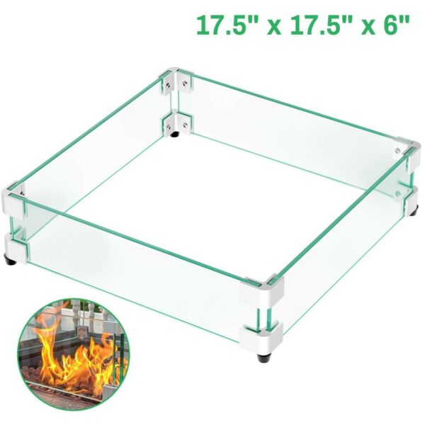 GASPRO 17.5quot; Square Fire Pit Glass Wind Guard Clear Tempered Glass Wind Guar...