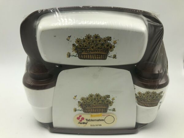 Vintage 1970s Sterilite Tablemates Salt Pepper Butter Dish Napkin Holder Brown