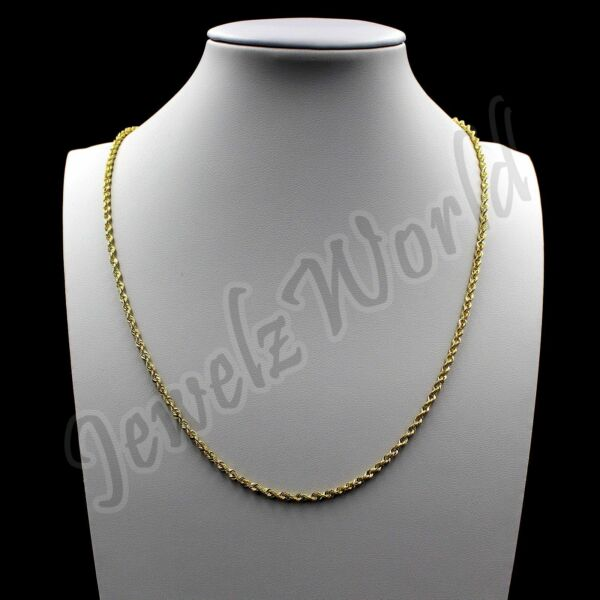 10K Solid Yellow Gold Necklace Gold Rope Chain 1MM 16quot; 18quot; 20quot; 22quot; 24quot; 26quot; 30quot;