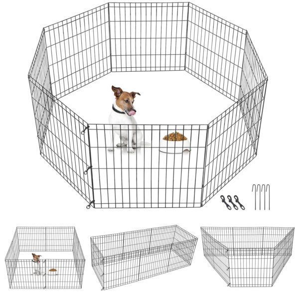 24quot; Tall 8 Panels Metal Dog Playpen Large Crate Fence Pet Play Pen Exercise Cage