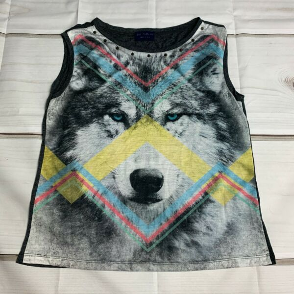 the clas sic womens small tank top wolf design studded neckline $12.88