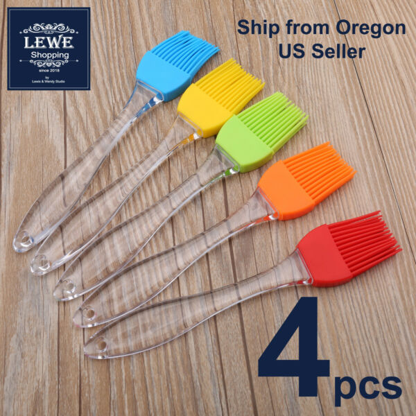 4pcs Silicone Kitchen Basting Brush Set Pastry Barbecue Oil BBQ Bread Grill Tool