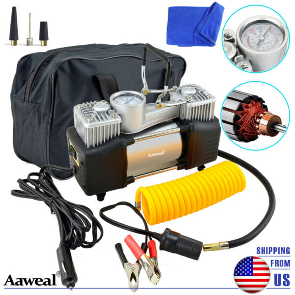HEAVY DUTY Portable Car Air Compressor Tire Pump Inflator Auto Double cylinder $38.99