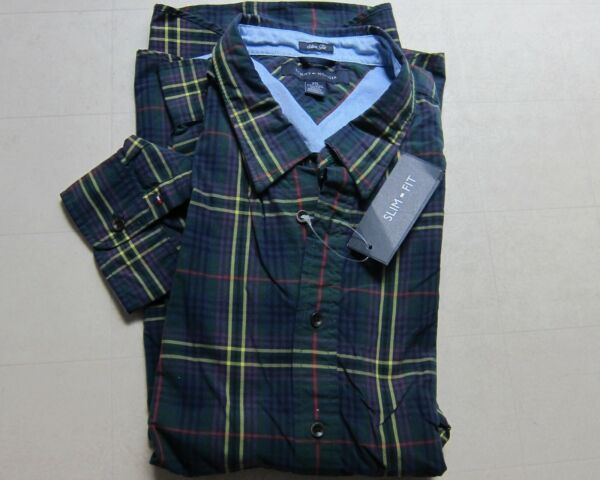 Tommy Mens Plaid Slim Fit Long Sleeve Button Down Multicolors amp; Sizes NWT $69.50 $25.99