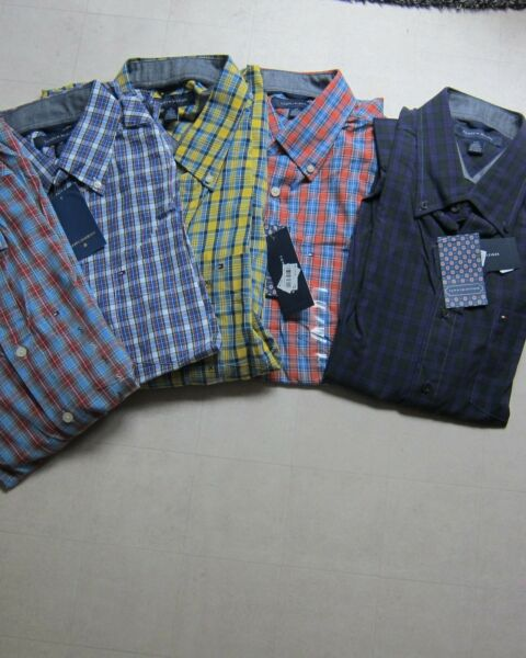 Tommy Mens Plaid Slim Fit Long Sleeve Button Down Multicolors amp; Sizes NWT $69.50 $24.99