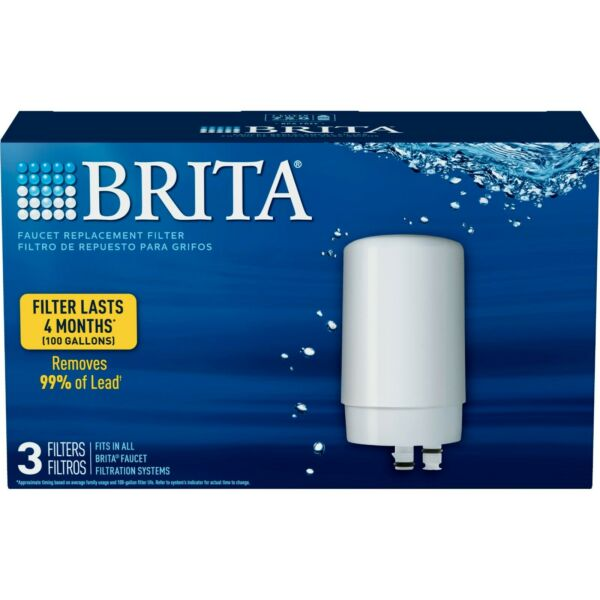 Brita Tap Water Faucet Filter Replacement 3 Count White 💧💧💧 FAST SHIPPING