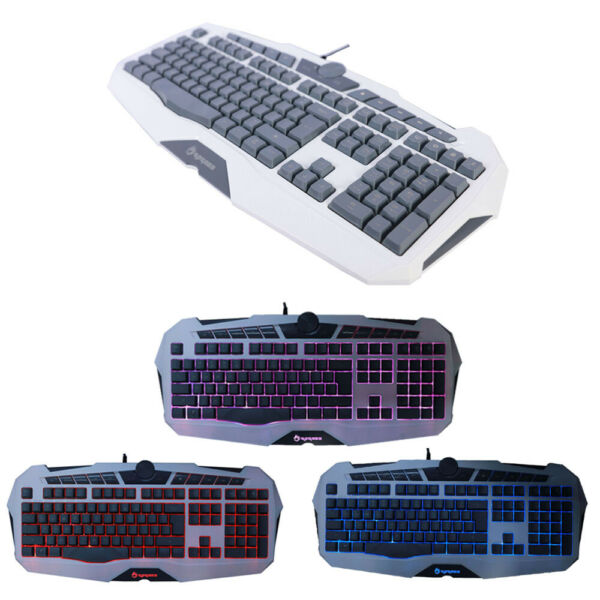 Hot Wired Gaming USB Keyboard Game LED Backlight Illuminated for Pc Laptop Gray