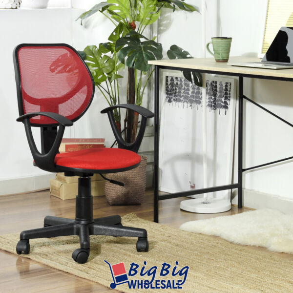 Modern Office Chair Red Mesh Ergonomic Mid-Back Excecutive Computer Desk Seat $49.99