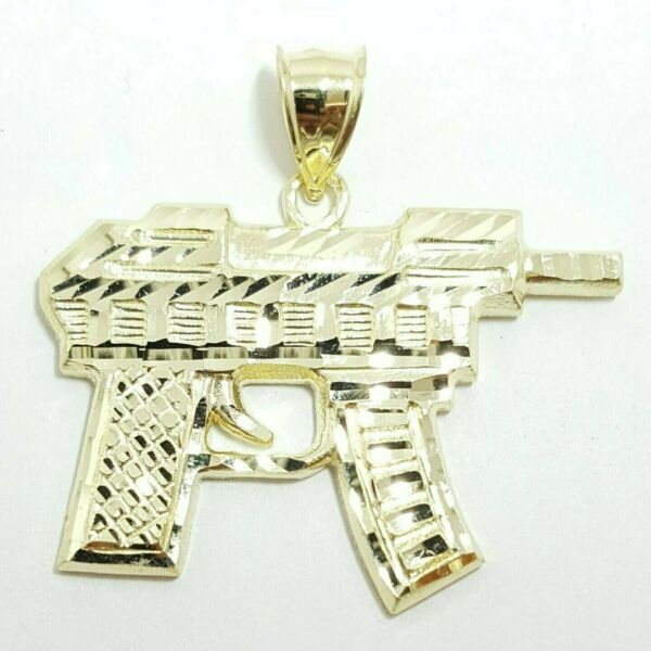 10k yellow solid Gold automatic machine gun Pendant charm fine gift jewelry 4.8g $240.00