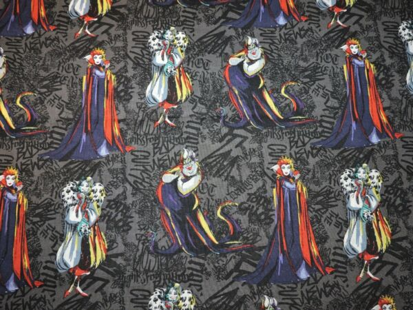 Villains Sketched Disney 100% Cotton Fabric 1 2 Yard Precut 18quot;x43quot;