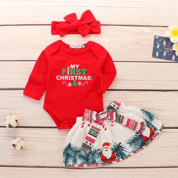 US Christmas Newborn Baby Girl Top RomperPants Headband Outfit Set Clothes $8.99