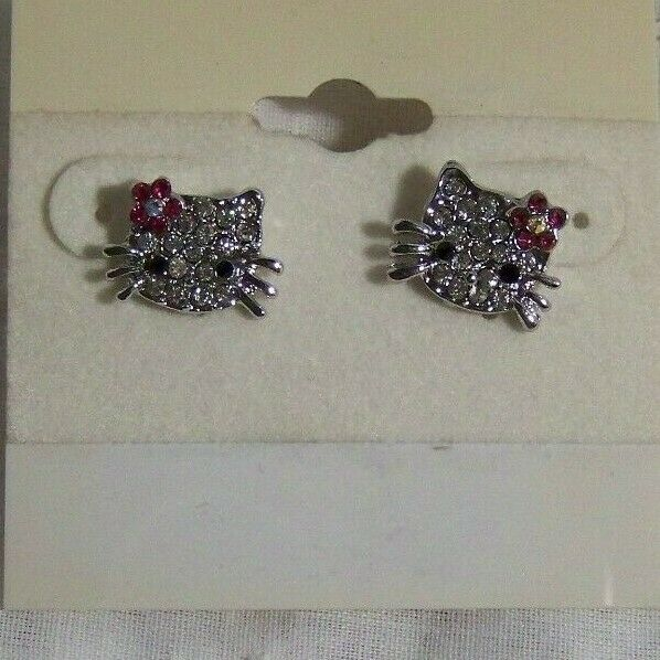 Hello Kitty Rhinestone stud Earrings by Sanrio 1 2quot; size stainless post