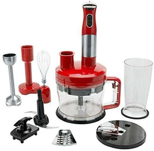 NEW Wolfgang Puck 7 in 1 Immersion Blender w 12 Cup Food Processor in Red $57.95