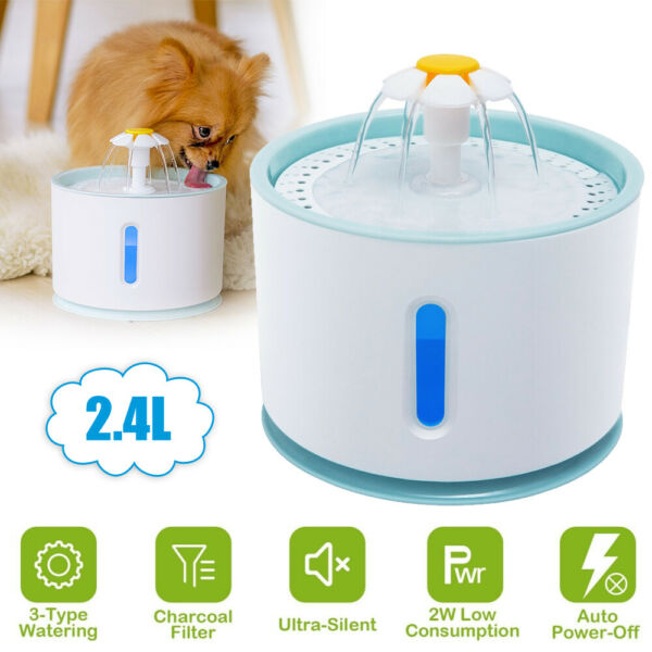 LED Pet Water Fountain Automatic Dog Cat Drinking Dispenser Bowl with Filters $31.99