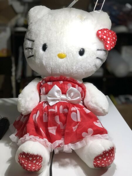 "Large 20"" Hello Kitty Sanrio Plush Pink Heart Dress Very Clean Missing Bow"