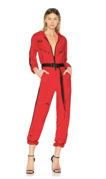 New I.AM.GIA Red Boiler Suit Jumpsuit Long Sleeve Coverall Denim Small S $64.60