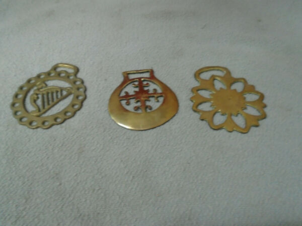 Lot of 3 Vintage HORSE BRASS Bridle Decorations