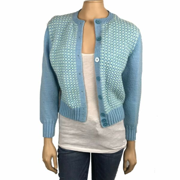 Vintage Garter Stitch Blue White Cardigan Womens Medium