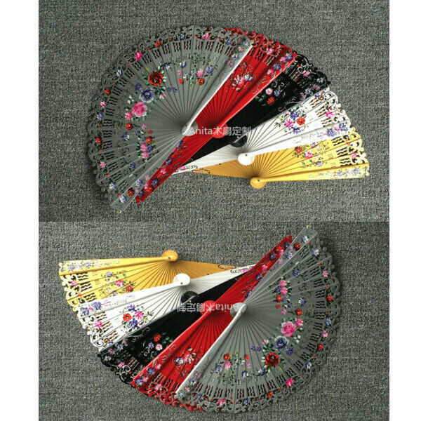 New Spanish Style Hand Painted Flower Wood Fans Dance Fans Wedding Gift 5 Colour $18.04