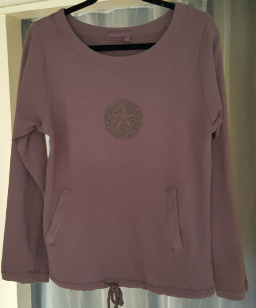 fresh produce brown sweatshirt with beaded star fish size Small X Small $25.00
