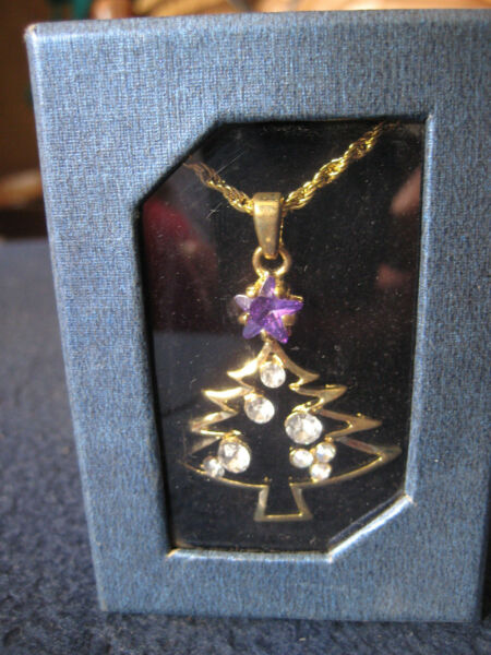 Christmas Tree Necklace with quot;Simulatedquot; Crystal Stones Purple and Clear NEW
