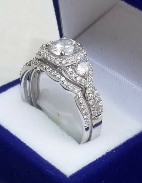 2.00 Ct Round cut Diamond Engagement Ring Wedding set White Gold Sterling Size 8