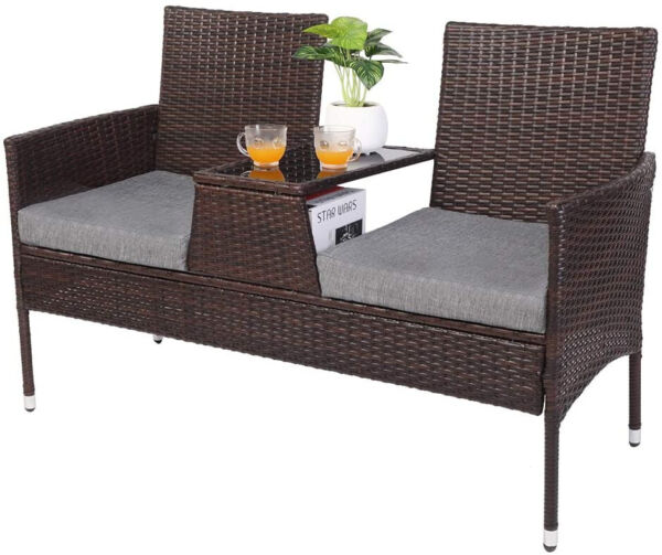 VINGLI Wicker Patio Loveseat Sofa with Cushions and Table Outdoor Furniture $296.00