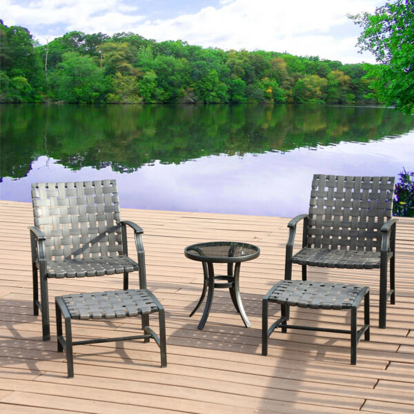 Patio Lounge Chair Sofa Rattan Wicker Outdoor Furniture Glass Coffee Side Table $189.99