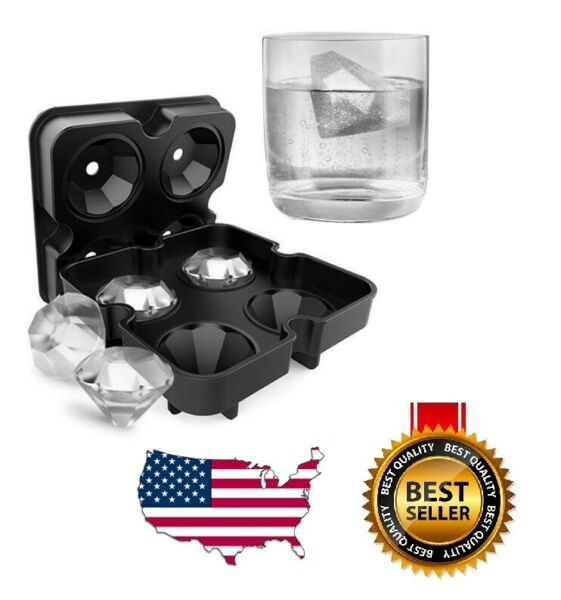 Silicone 3D Diamond ICE Cube Tray Maker Mold Whiskey Cocktails $5.79